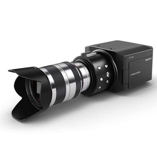 大型CMOSイメージセンサーや、レンズ交換システム「Eマウント」システムを採用する業務用ビデオカメラ