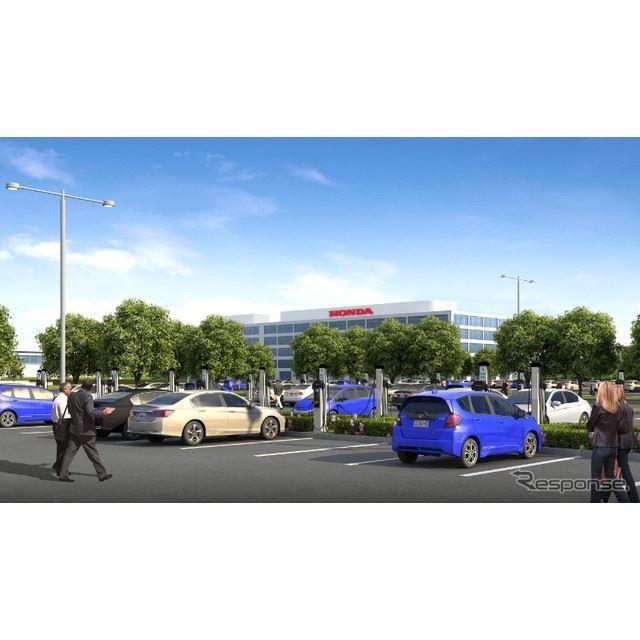 ホンダの米本社の充電スタンド増設イメージ