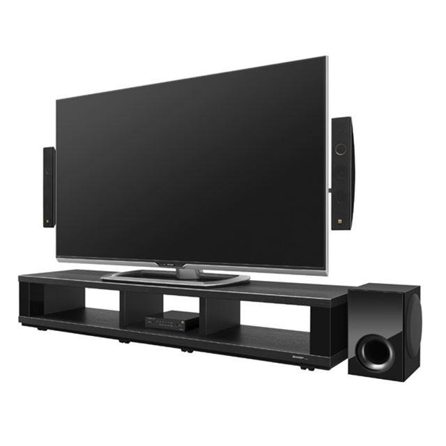 サイドバーシアターシステム「HT-SP100」(液晶テレビAQUOS「LC-60US30」とシアターラックシステム「AN-R600」との設置例)