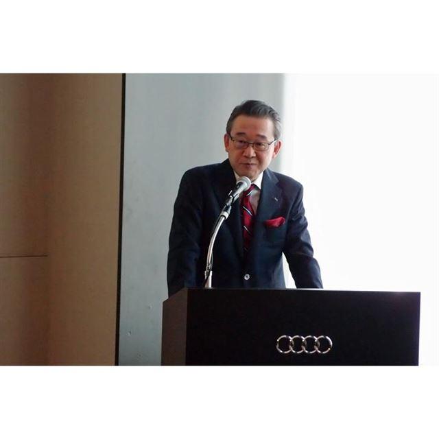 出席した記者からの質問に答える、アウディ ジャパンの斎藤 徹 代表取締役社長。