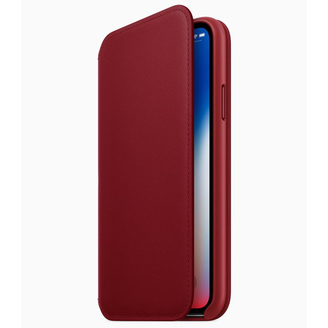 「iPhone X レザーフォリオ (PRODUCT)RED」