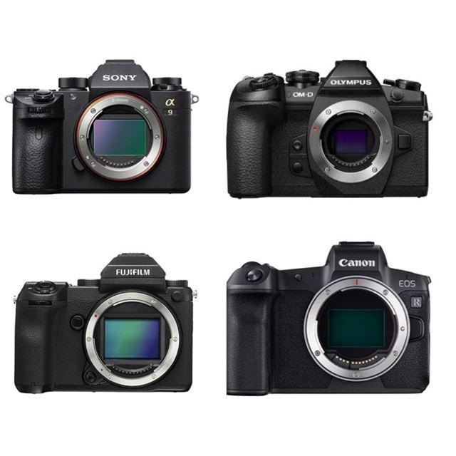 左上からα9 ILCE-9、OM-D E-M1 Mark II、左下からFUJIFILM GFX 50S、EOS R