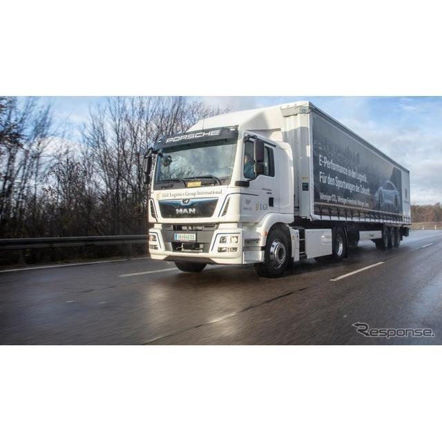 ポルシェ・タイカンの部品を輸送するMANのEVトラック、eTGM