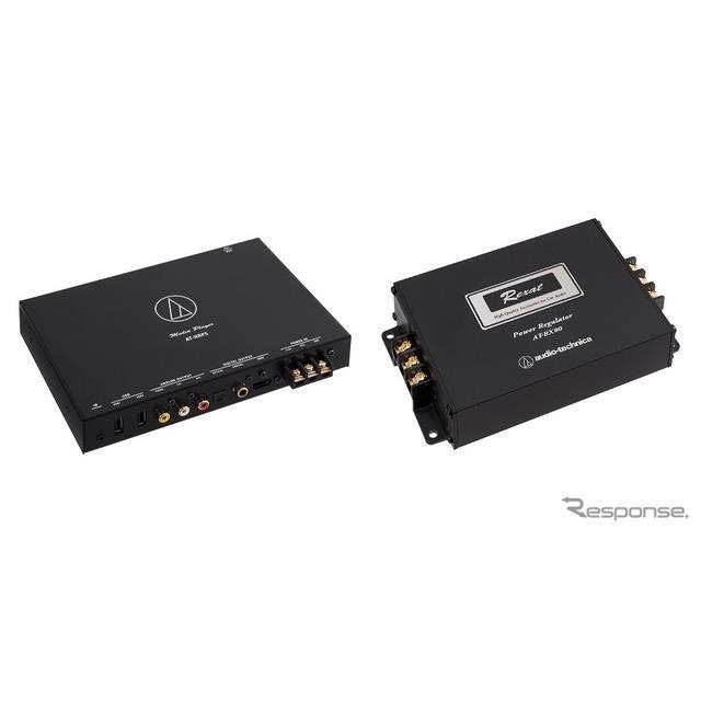 Hi-Resメディアプレーヤー「AT-HRP5」(左)とヘッドユニット用パワーレギュレーター「AT-RX80」