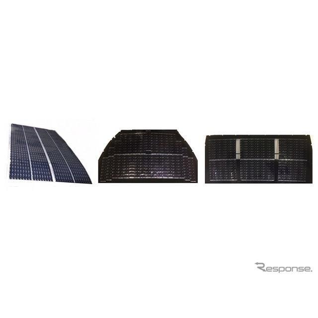 複数の太陽電池セルにより構成された太陽電池パネル(左からルーフ、フード、バックドア)