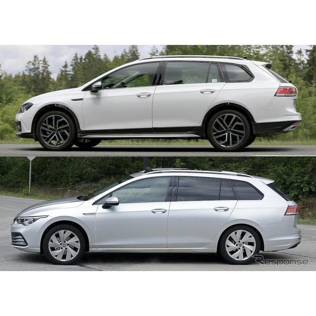 VW ゴルフオールトラック 新型(上)とゴルフヴァリアント 新型(下)のプロトタイプ