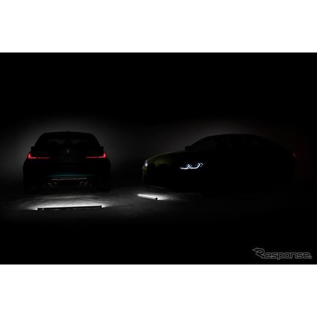 BMW M3 セダン 新型と M4 クーペ 新型のティザーイメージ