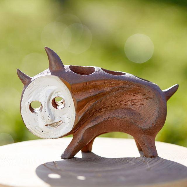 「ポリストーン製塗装済完成品 犬の植木鉢」