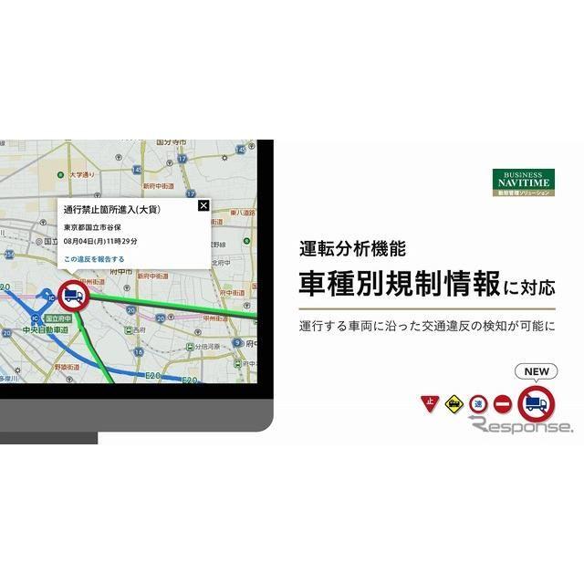 ビジネスナビタイム動態管理ソリューションの運転分析機能にて車種別規制情報に対応