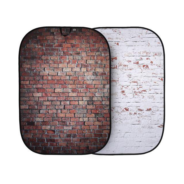 折たたみ式柄背景 1.5x2.1m レッド/ホワイトレンガ