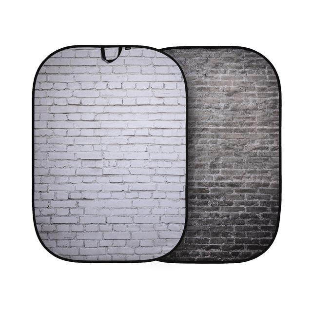 折たたみ式柄背景 1.5x2.1m ホワイト/グレーレンガ