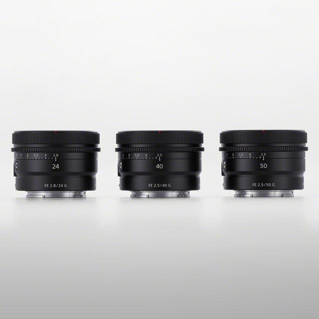 「FE 50mm F2.5 G SEL50F25G」「FE 40mm F2.5 G SEL40F25G」「FE 24mm F2.8 G SEL24F28G