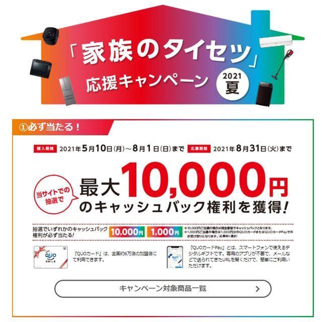東芝、最大10,000円還元の「家族のタイセツ 応援キャンペーン2021年夏」