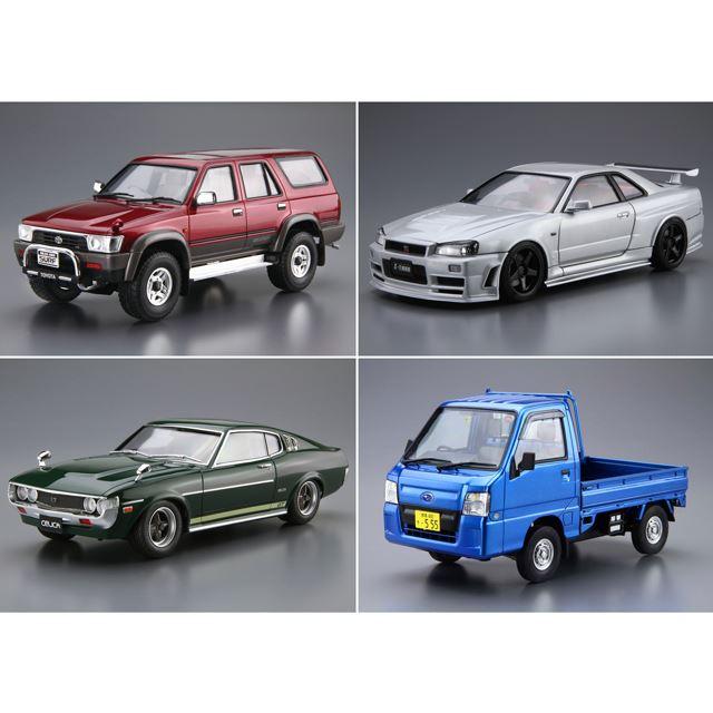 上段左から「1/24 トヨタ VZN130G ハイラックスサーフ SSR-X ワイドボデー '91」「1/24 ニスモ BNR34 スカイラインGT-R Z-tune '04」など