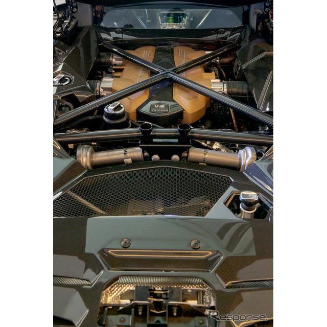 手前にはシルバーのプッシュロッド式磁気レオロジー・アクティブ・リアサスペンションが見える。奥にはV12自然吸気エンジンが鎮座する。