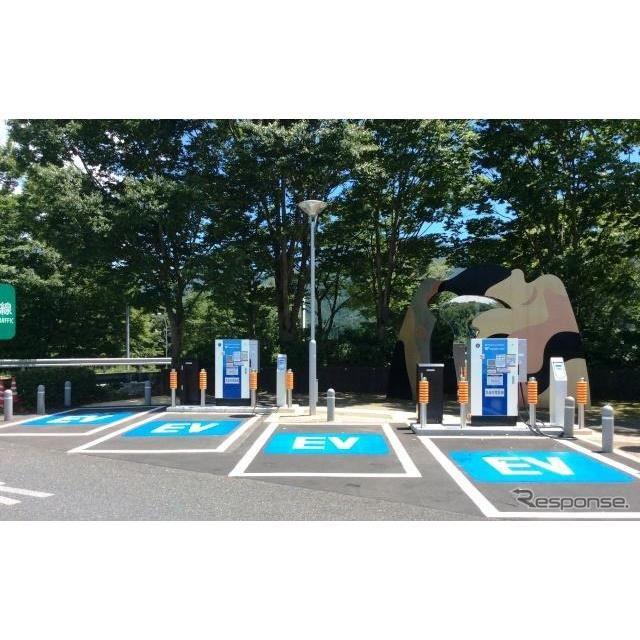 2015年6月に2基整備された東名高速道路 足柄サービスエリア(下り線)急速充電器