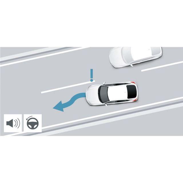 車線変更時には、リアのコーナーレーダーが後側方車両との接触回避に役立つ。