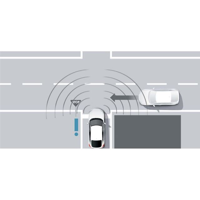 フロントのコーナーレーダーの働きにより、左右前方から自車に接近する車両の存在が通知される。