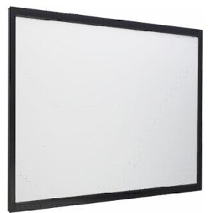 [Stylist Panel スクエアタイプ] ツヤ消し黒塗装を施した軽量アルミフレームボディを採用したプロジェクタスクリーン。価格は162,750〜278,250円(税込)