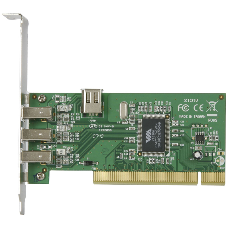 [1394V-LPPCI2] 6ピンタイプのIEEE1394ポートを外部に3基、内部に1基搭載するIEEE1394インターフェイスカード。直販価格は1,630円