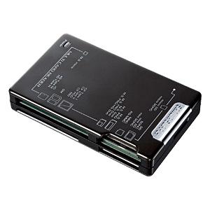 [ADR-MLT111BK] 表面にアルミ素材を使った47メディア対応カードリーダー(ブラック)。価格は3,990円