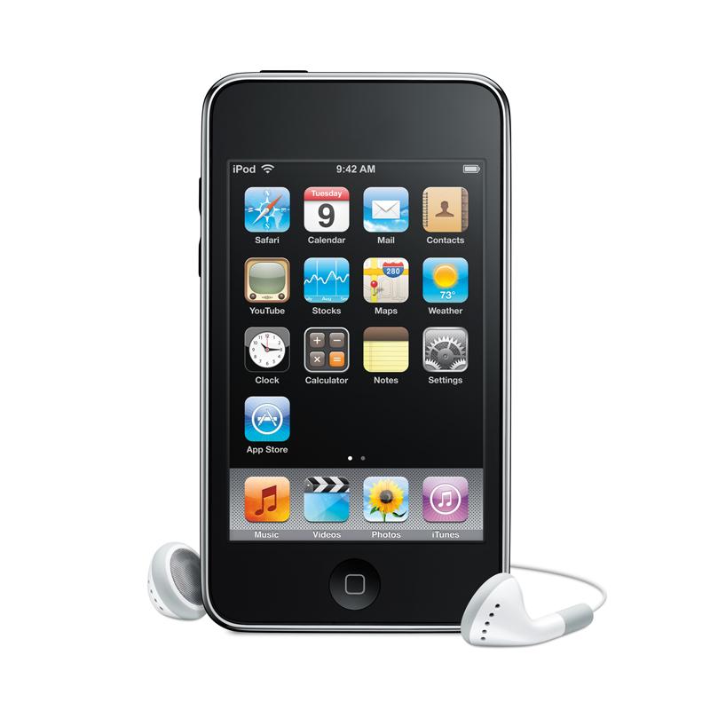[iPod touch] 3.5型タッチスリーン液晶/音量コントロールボタン/内蔵スピーカーを搭載したポータブルオーディオプレーヤー。価格は27,800〜47,800円(税込)