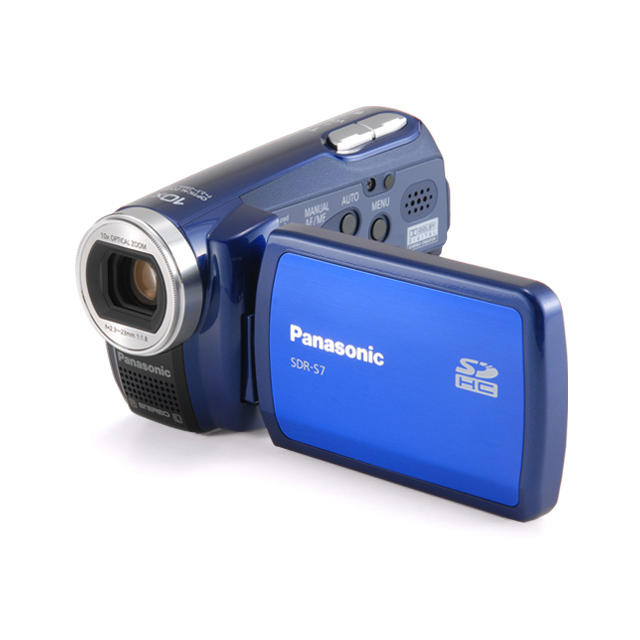 [SDR-S7-A] 小型軽量ボディにSDHCカードスロットを搭載したSDビデオカメラ(ブルー)。直販価格は39,800円(税込)