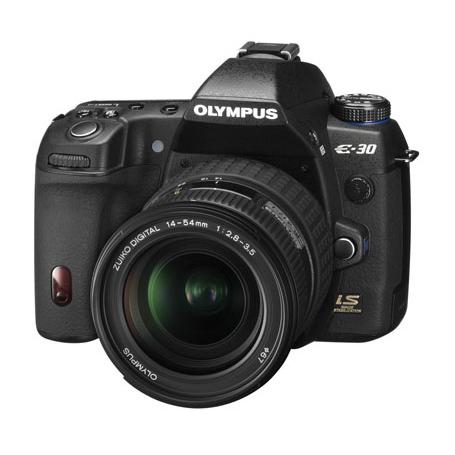 [E-30レンズキット] ハイスピードLive MOSセンサーやTruePicIII+を備えたハイアマチュア向けデジタル一眼レフカメラと標準ズームレンズ「ZUIKO DIGITAL 14-54mm F2.8-3.5II」のセット。価格はオープン