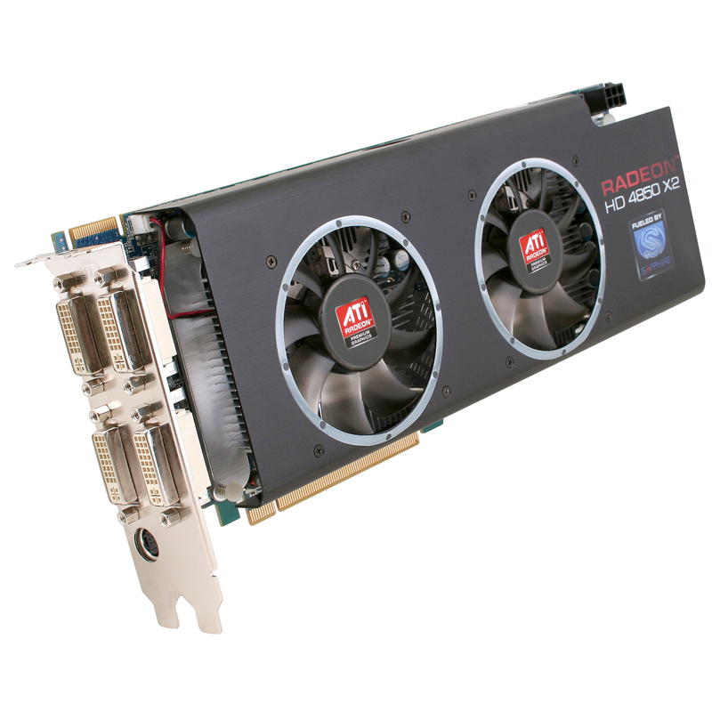 [SAPPHIRE HD 4850 X2 2GB GDDR3 PCI-E] RADEON HD 4850 X2搭載PCI Express2.0対応ビデオカード(GDDR3-SDRAM 2GB) 。市場想定価格は49,800円前後