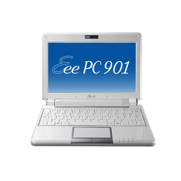 [Eee PC 901-16G パールホワイト] Atom N270/16GB SSD/Draft 2.0 IEEE802.11n対応無線LANを備えた8.9型液晶搭載ウルトラモバイルノートPC(パールホワイト)。市場想定価格は54,800円