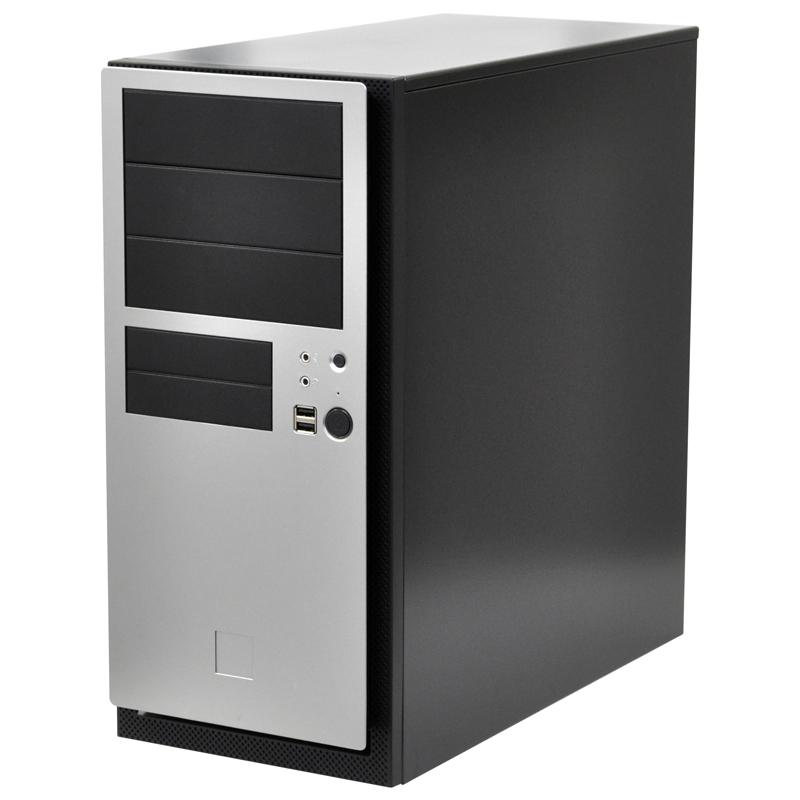 [NSK4480II] 0.8mm厚スチールや380W電源を採用したATX/Micro-ATX/Mini-ITX対応ミドルタワーPCケース(シルバー)。市場想定価格は13,800円前後