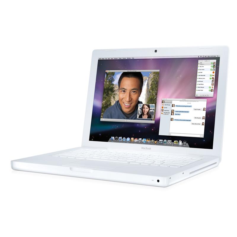 [MacBook 2000/13.3 ホワイト MB881J/A] Core 2 Duo 2.0GHz/GeForce 9400M/2GBメモリー/120GB HDDを備えた13.3型液晶搭載MacBookホワイト。販売価格は114,800円〜