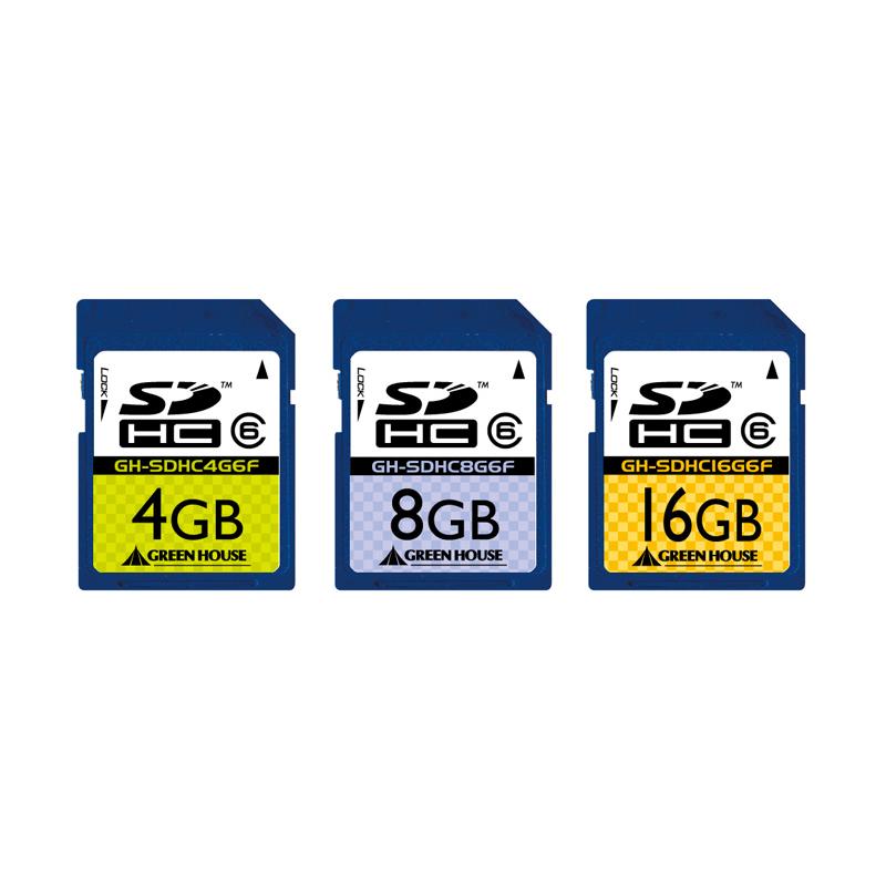 [GH-SDHC*G6Fシリーズ] SDスピードクラス「Class6」に対応したSDHCカード。直販価格は3,980〜6,980円(税込)