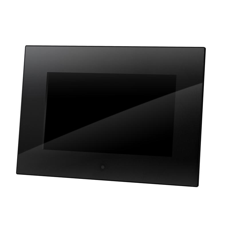 [GHV-DF7G] フロント全面に高級感のあるアクリルパネルを採用した7型ワイド液晶搭載デジタルフォトフレーム(ブラック)。直販価格は7,980円(税込)