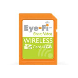 [Eye-Fi Share Video 4GB] 動画のアップロードに対応した無線LAN内蔵SDHDカード(4GB)。市場想定価格は9,980円