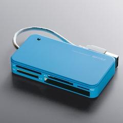 [BSCRA47U2BL] 47+5メディア対応のUSBカードリーダ/ライタ (ブルー) 。本体価格は1,720円