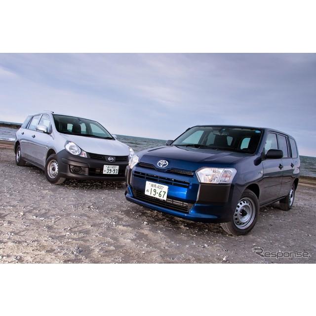トヨタ自動車が9月に大幅改良を施した商用モデル、新型『プロボックス/サクシード』。紙パック飲料を置け...