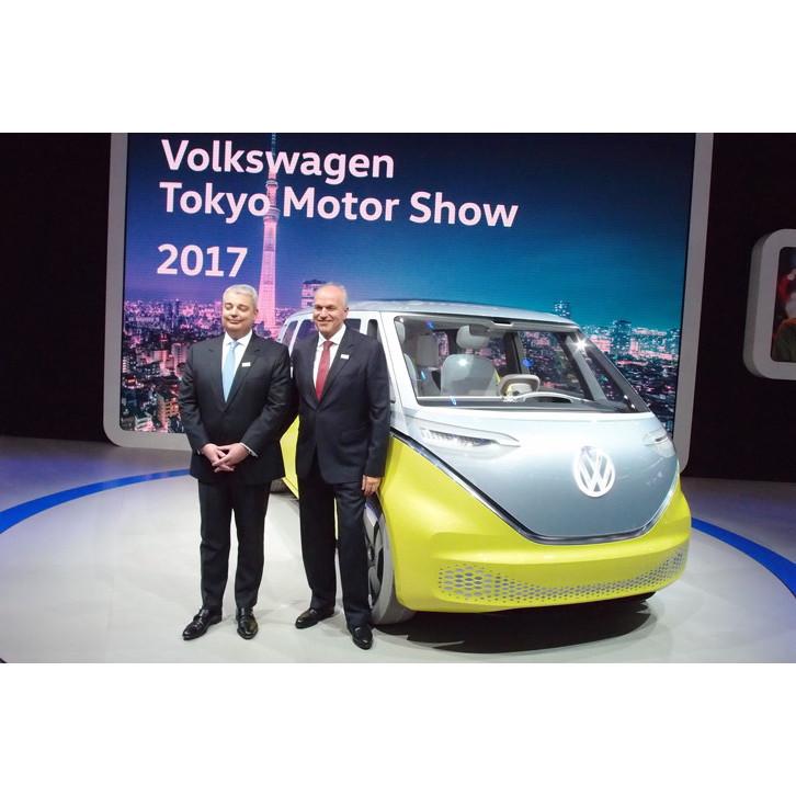 フォルクスワーゲンのブースは、電気自動車を中心に、PHEVやディーゼルモデルなど多彩なパワート...