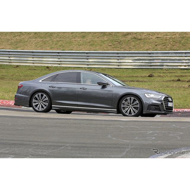 アウディのフラッグシップ4ドアサルーン『A8』の高性能モデル『S8』次期型が、ニュルブルクリンクで高速テ...