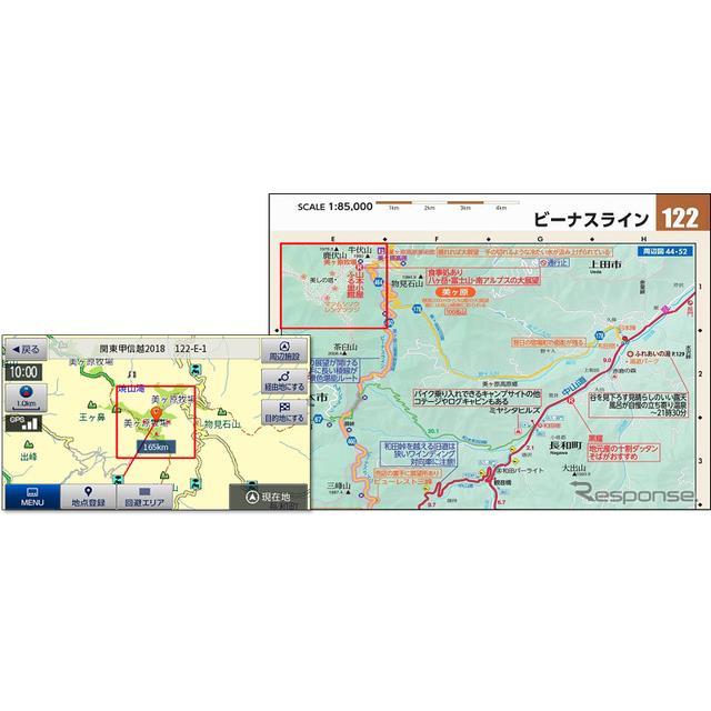 左:BNV-2現在地画面、右:ツーリングマップル誌面