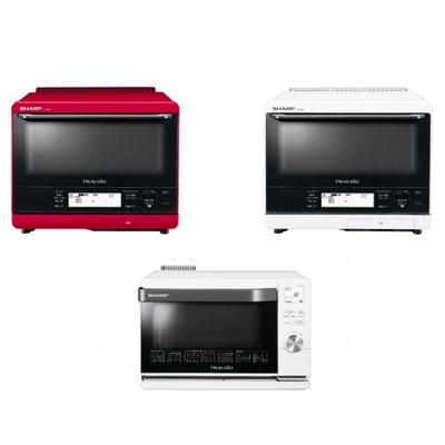ウォーターオーブン「ヘルシオ」。上段左から 「AX-XS500-R(レッド系)」「AX-XS500-W(ホワイト系)」、下段が「AX-CA450-W(ホワイト系)」