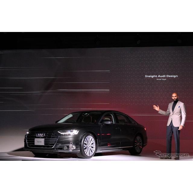 アウディのフラッグシップ、『A8』がフルモデルチェンジした。そのデザインはアウディの新しいデザイン哲学...