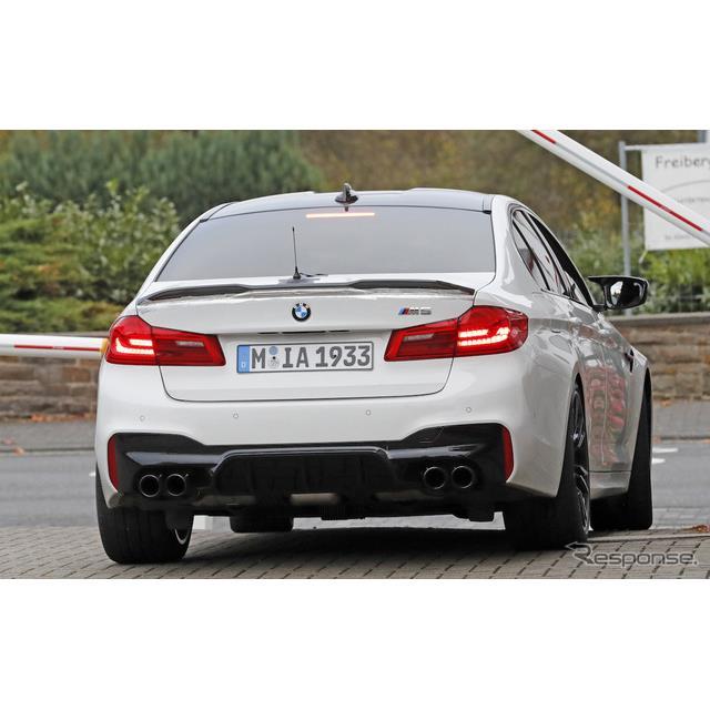 BMW『M5』の最強モデルとなる『M5 CS』と思われる開発車両を、初めてカメラが捉えた。これが事実なら、『M3...