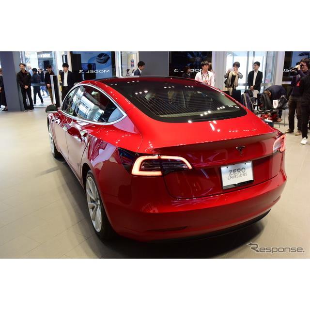 EV専業メーカー、テスラジャパンは3日、プレミアムDセグメントセダンEV『モデル3』を日本で初公開した。 ...