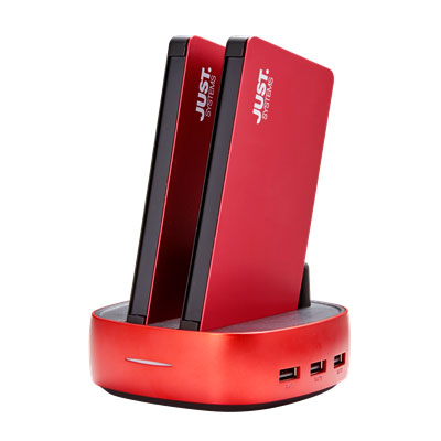 JUSTロゴ入 2連モバイルバッテリー PowerStation RED
