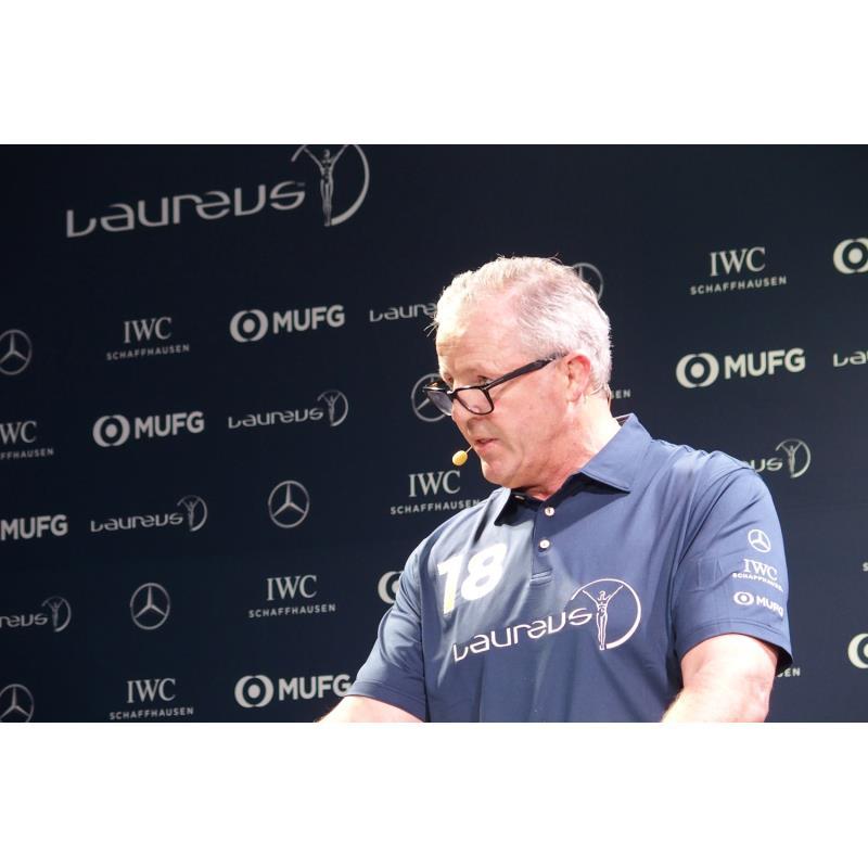 ローレウスの日本での活動内容を発表した同団体のチェアマン、ショーン・フィッツパトリック氏。