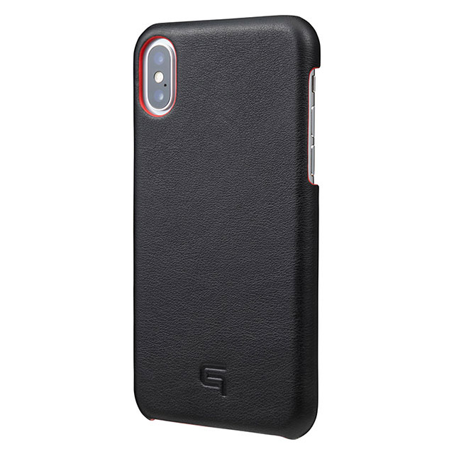 GRAMAS Italian Genuine Leather Shell Case for iPhone XS/X Black×Red