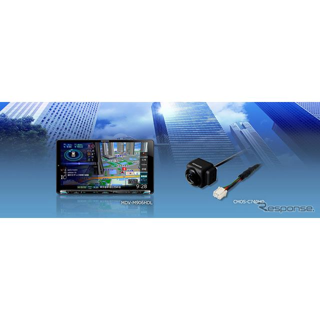 ケンウッドの「彩速ナビ」のカーナビ「MDV-M906HDL」とリアカメラ「CMOS-C740HD」
