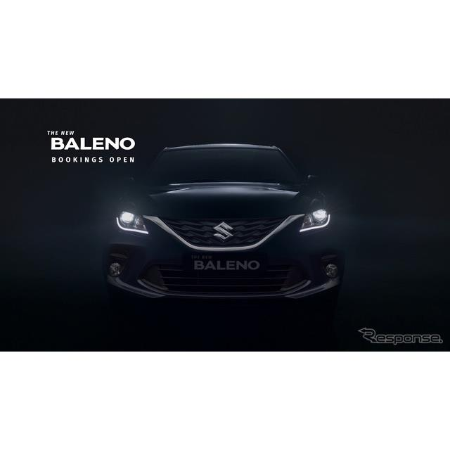スズキのインド部門、マルチスズキは1月22日、改良新型『バレーノ』(Suzuki Baleno)のティザーイメージを...