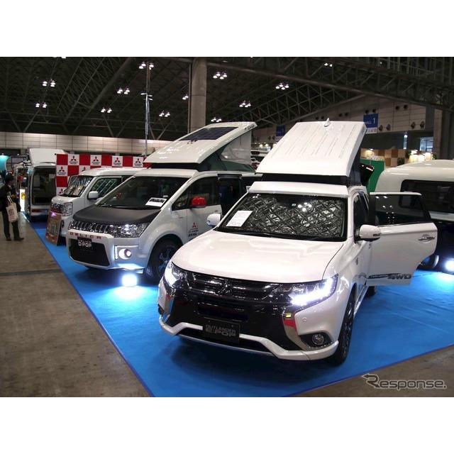 三菱車のキャンパー架装で定評のある西尾張三菱自動車販売のブースで、現行『デリカD:5』と『アウトランダ...